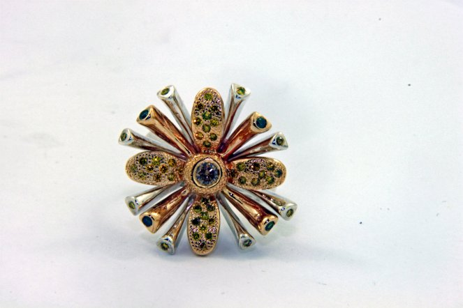SUNBURST FLOWER Champagne, Yellow, and Green Diamonds,14k Yellow Gold, and Sterling Silver Ring4