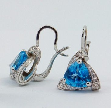 Swiss Blue Topaz And White Gold Earrings $1,200+ (2)