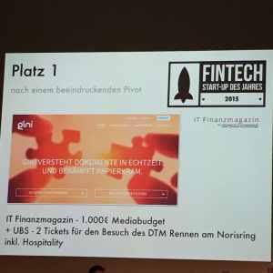 Glückwunsch an Gini zum Gewinn des FinTech des Jahres 2015