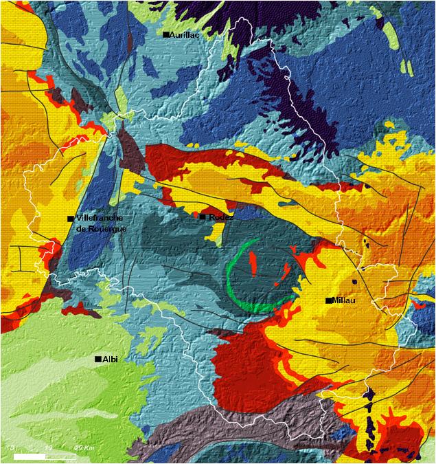 La carte de Géologie de l'Aveyron