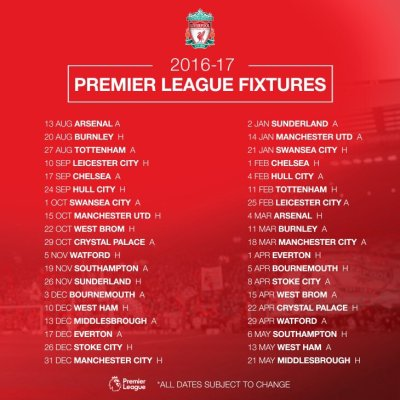 View topic - Premier League Fixtures List In Full 2016/2017