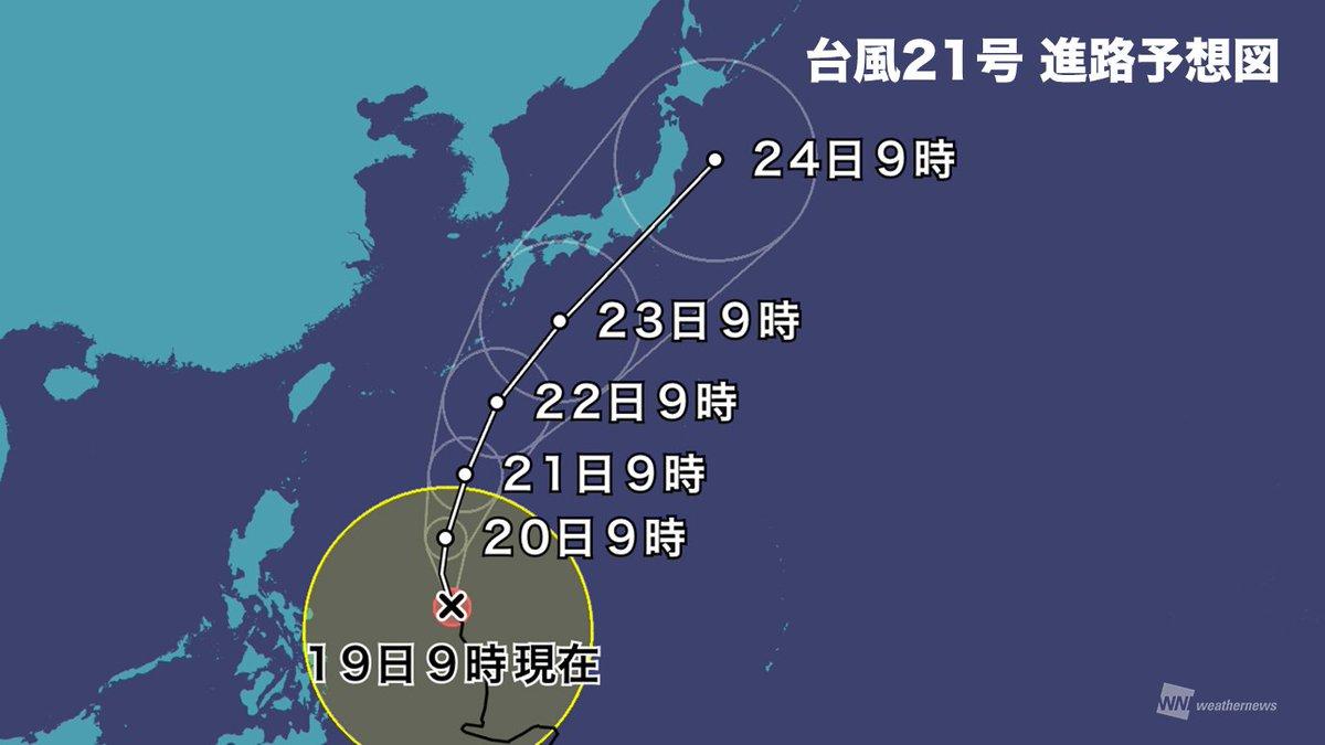 test ツイッターメディア - 【台風21号】週明けに西・東日本へ上陸の恐れ 接近前から大雨にも警戒を 19日9時現在、大型で強い勢力の台風21号は、暴風域を伴い、発達しながら日本に向かって北上中。台風接近前からの大雨にも警戒が必要です。 https://t.co/0nwcyv1rek https://t.co/Lw76UQKn7P
