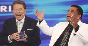 Silvio Santos ri de Agnaldo Timóteo em gravação de programa que vai ao ar neste domingo (3) no SBT.
