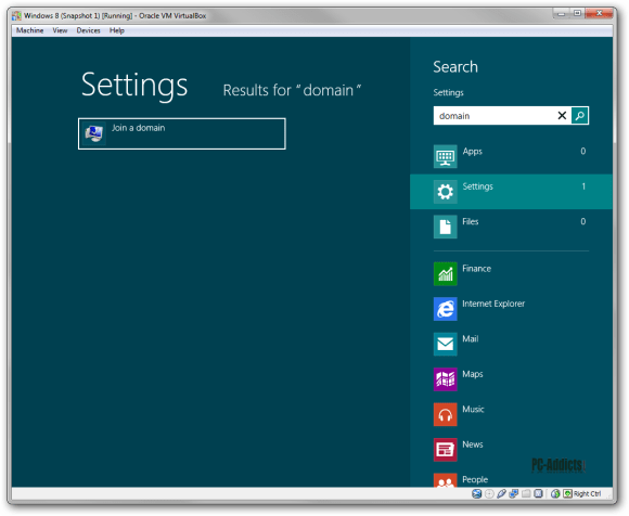 Windows 8 Settings Search Hotkey