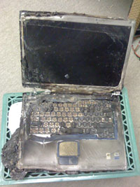 This laptop was damaged beyond repair in a house fire, and all the data was lost.