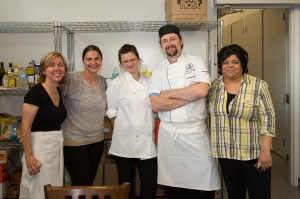 A group of dedicated volunteers: (from left) Elaine, Marta, Lindsey, Glen Abbey's Executive Chef Jamie Hussey & Maxine.