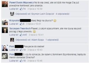negatywne komentarze na Facebooku pod postem Twardocha źródło: Facebook.com