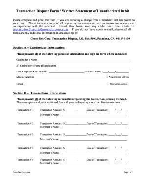 Green Dot Dispute Form - Fill Online, Printable, Fillable, Blank | PDFfiller