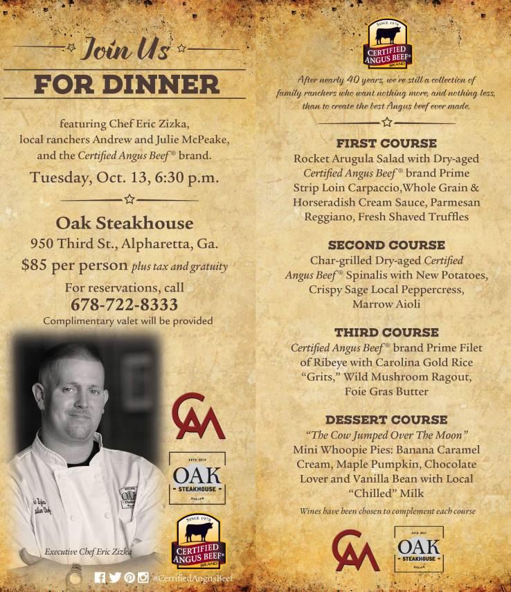 Oak Steakhouse event invitation