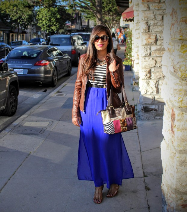 Blue Maxi and Brown Leather Jacket 17