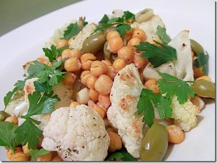 Roasted Cauliflower, Chickpea and Green Olive Salad