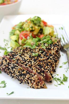 Tuna Sesame Seared Steak with Avocado Salsa (23)