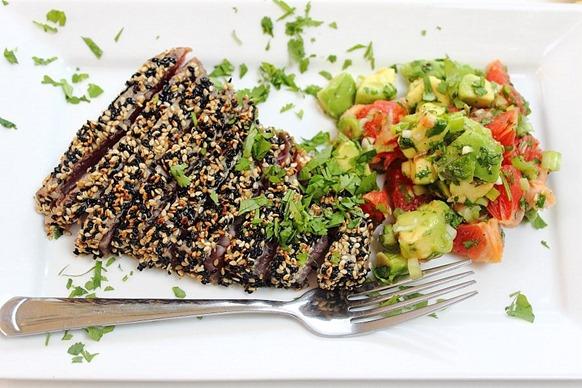 Tuna Sesame Seared Steak with Avocado Salsa (28)