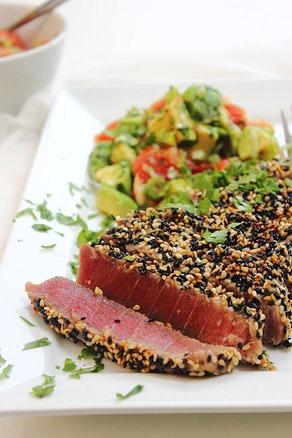 Tuna Sesame Seared Steak with Avocado Salsa (32)