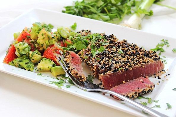 Tuna Sesame Seared Steak with Avocado Salsa (6)