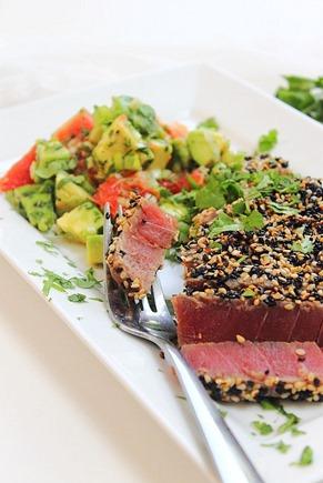 Tuna Sesame Seared Steak with Avocado Salsa (7)
