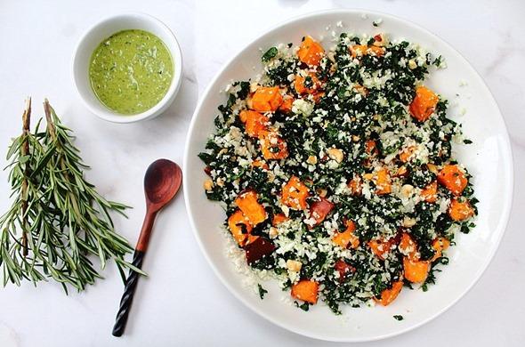 Thanksgiving Sweet Potato Kale Cauliflower Rice Salad (8)