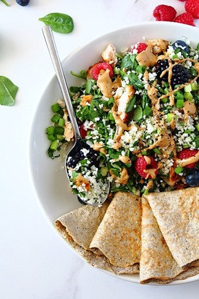 Berry Sunbutter Rice Salad Paleo with Flax Coconut Flour Wraps (12)
