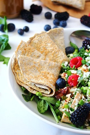 Berry Sunbutter Rice Salad Paleo with Flax Coconut Flour Wraps (2)