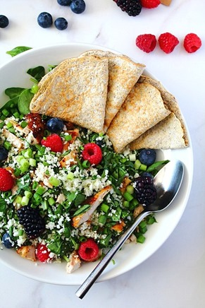 Berry Sunbutter Rice Salad Paleo with Flax Coconut Flour Wraps (5)