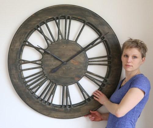 Very Large Rustic Skeleton Clock 100cm. Handmade & Hand Painted in UK