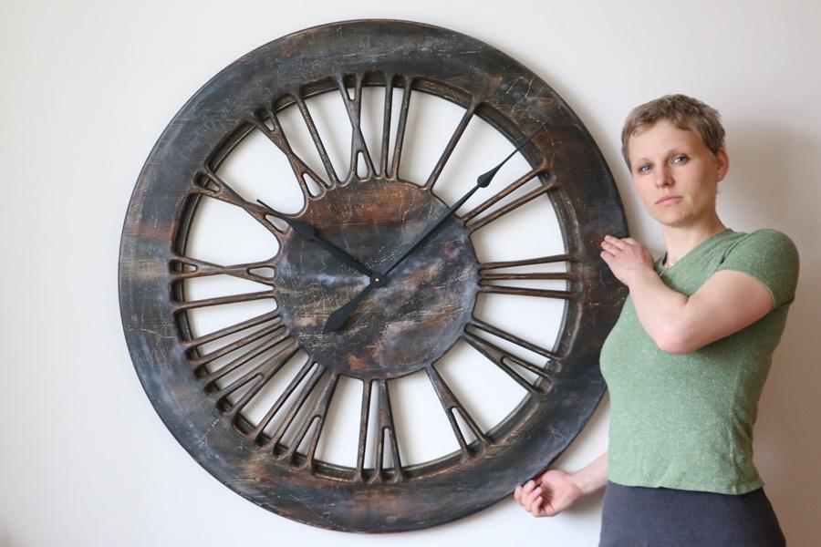 40 Quot Large Contemporary Wall Clock Wood Handmade Uk