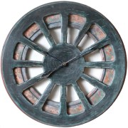 """Most Impressive 30"""" Handmade Wooden Wall Clock with Dark Blue Front and Aged Copper Skeleton Background"""