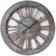 Massive Wooden Skeleton Roman Numeral Wall Clock Face in Blue & Grey Colours.