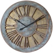 Classic Rustic Grey & Blue 100 cm Roman Numeral Wall Clock made of wood