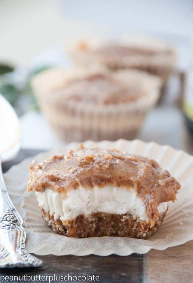Healthy No Bake Salted Caramel Protein Cheesecake Bites {Gluten-Free}