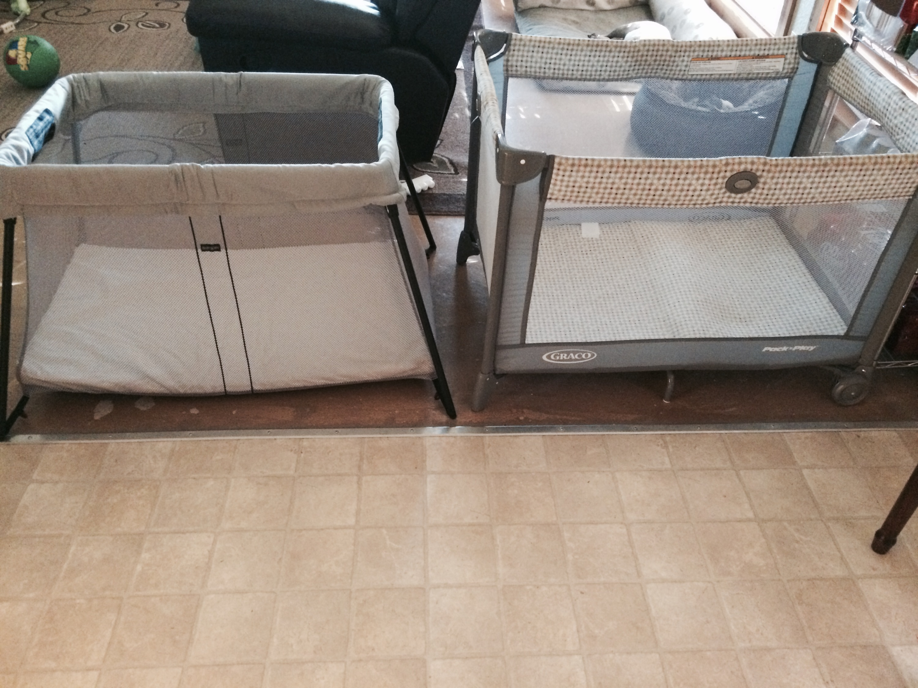 Indoor Side By Side Visual Comparison Bjorn Immediately Looks Quite A But This Is Deceiving As I Found When I Broke Out My Tape Baby Bjorn Travel Crib Light Graco Pack Play Peek baby Lotus Travel Crib