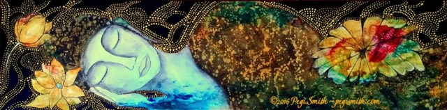 Lotus Dreams : 60 x 15 Acrylic painting on canvas profile of a woman sleeping and a lotus flower with multicolored abstract and black background with gold aborigine-style dot pattern by contemporary fine artist Pegi Smith, Ashland, Oregon.