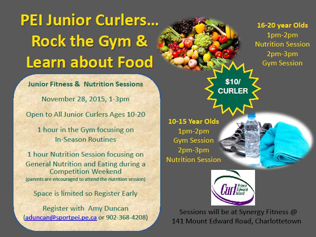 Junior Curlers Fitness and Nutrition session @ Synergy Fitness | Charlottetown | Prince Edward Island | Canada