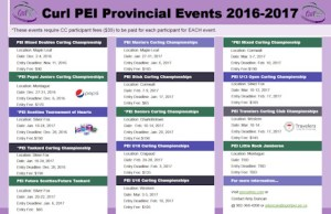 Curl PEI Event Schedule for 2016-2017. Tankard/Scotties to be run at same venue/time