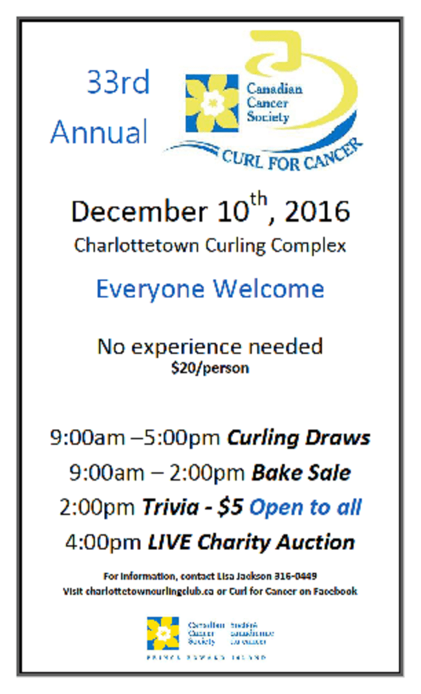 33rd Annual Curl for Cancer @ Charlottetown Curling Complex