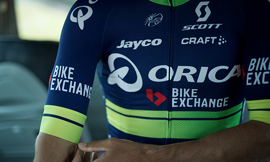 New kits/colors for a new name sponsor as Team Orica-GreenEDGE changes into Team Orica-BikeExchange ahead of the 2016 Tour de France