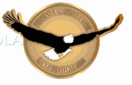 The Like to Hike 2014 pin features an eagle.