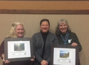 Chris, Judy, and Kelli  accepting the Gold Seal Awards for Best Park  to complete the Explorer books and Best Park  to visit in all 4 seasons.
