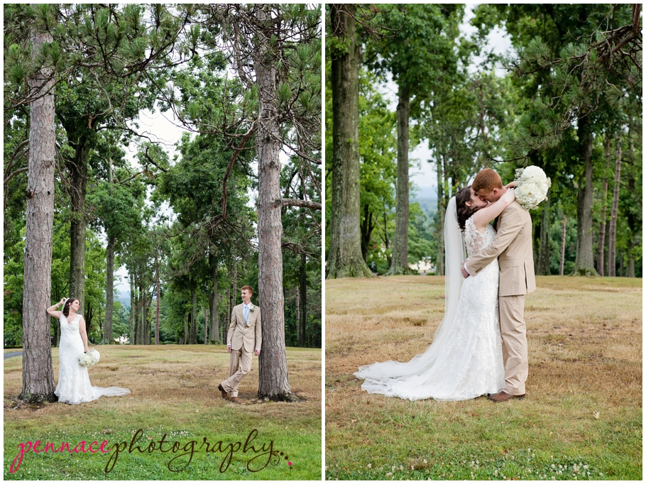 Wedding photos in a forest