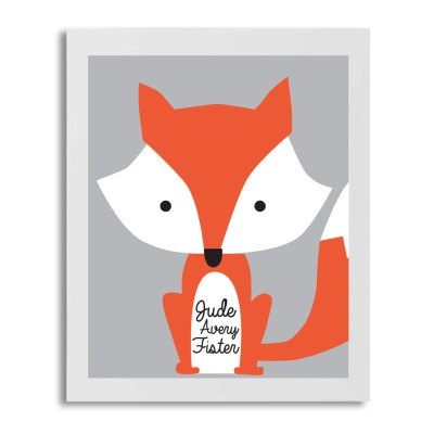 Custom Fox Print- Fox Art- Animal Art- Boys Room Decor- Fox Poster- Customizable Name Art- Birthday Gift- Nursery Decor