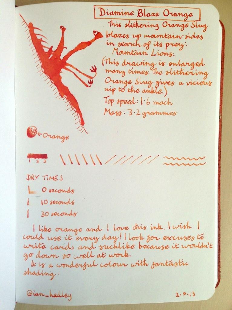 Diamine Blaze Orange ink review