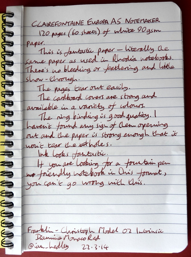 Clairefontaine Europa Notemaker handwritten review