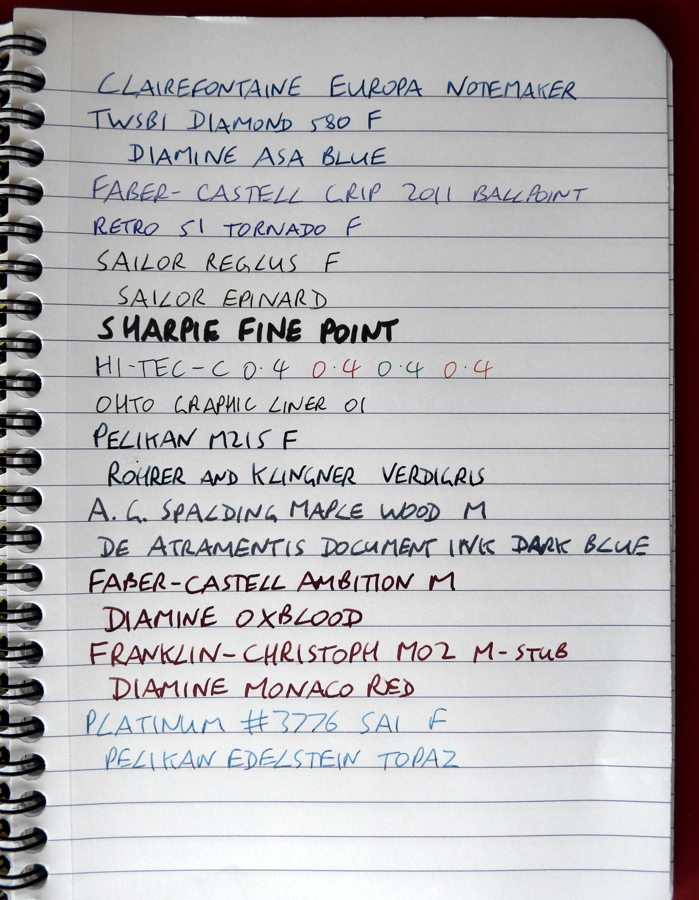 Clairefontaine Europa Notemaker ink test front