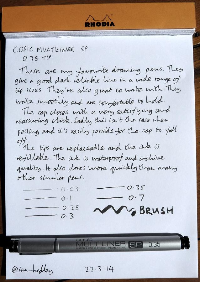 Copic Multiliner SP drawing pen handwritten review