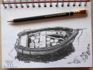 Sketch of boat in Lynmouth harbour