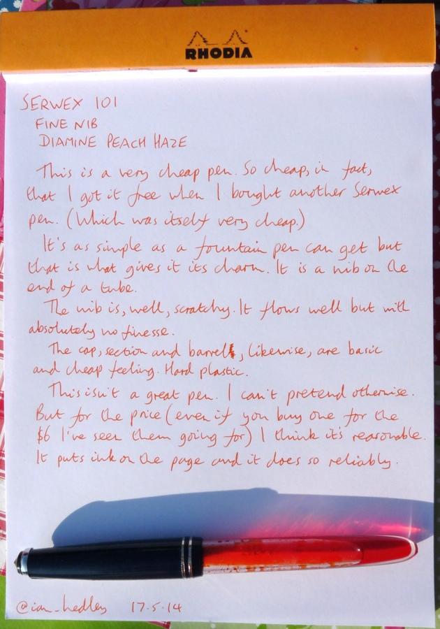 Serwex 101 F fountain pen handwritten review
