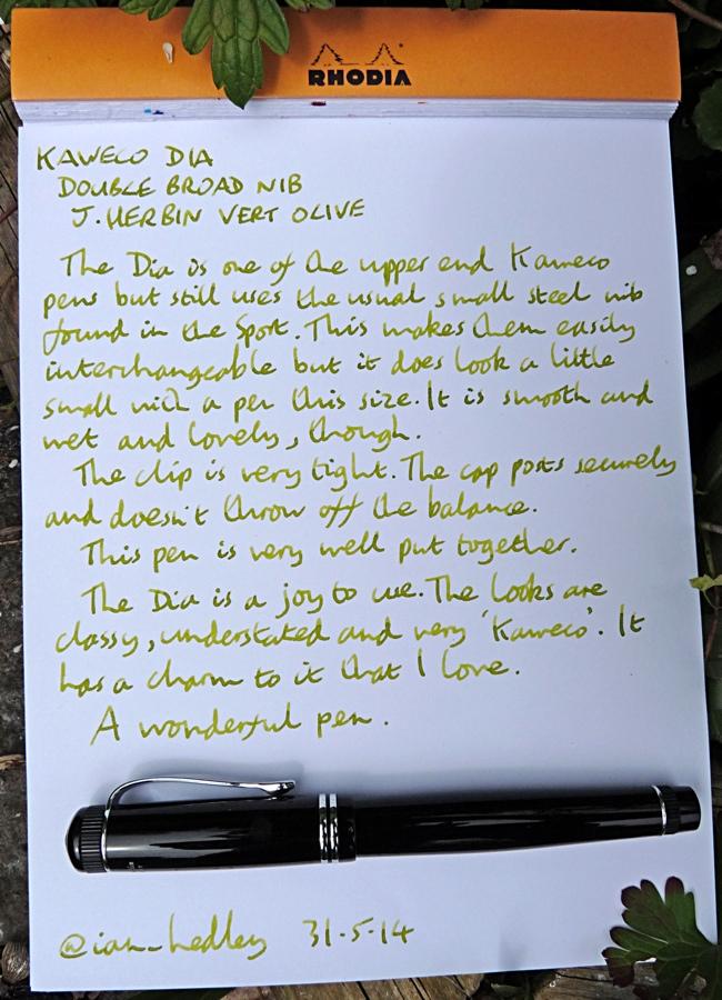 Kaweco Dia fountain pen handwritten review