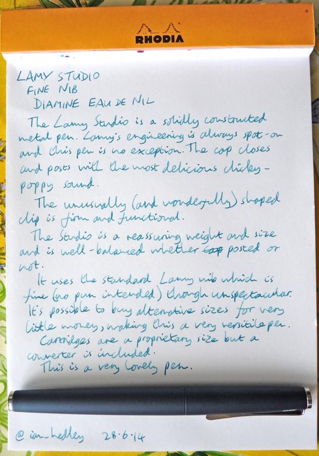 Lamy Studio fountain pen handwritten review