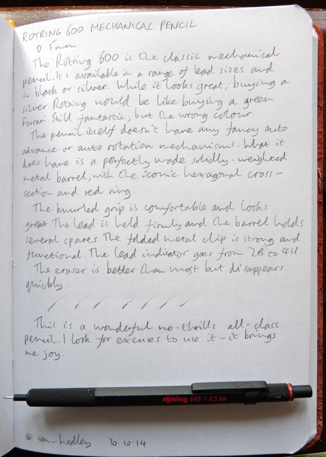 Rotring 600 mechanical pencil handwritten review