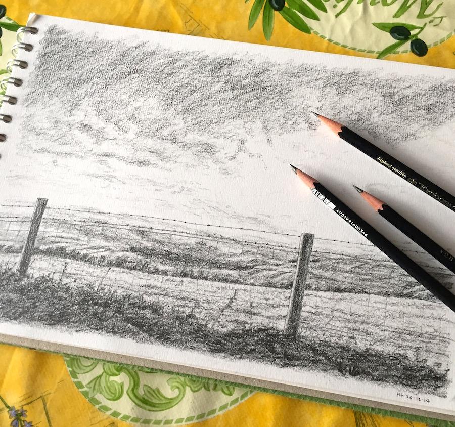 Eggardon Hill pencil sketch